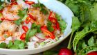 Prawns with noodles, carrot, coconut and chilli