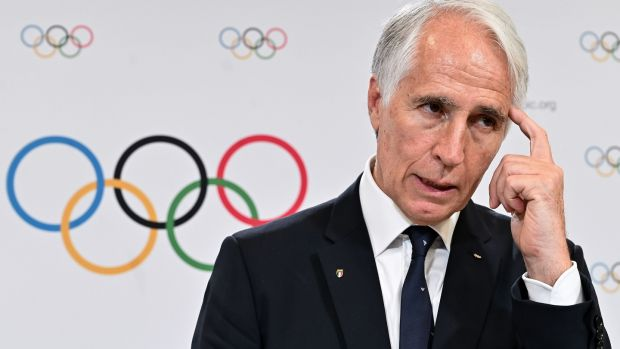Giovanni Malago, president of the Italian National Olympic Committee, during a press conference after Milan/Cortina d'Ampezzo was elected to host the 2026 Olympic Winter Games. Photograph: Getty Images