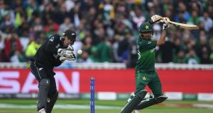Pakistan batsman  Babar Azam  plays a shot as  New Zealand wicketkeeper Tom Latham on during the World Cup match at  Edgbaston. Photograph: Alex Davidson/Getty Images