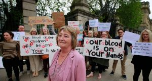 Mary Doherty of Lifeline Inishowen  with supporters outside  the Dáil on Wednesday. Photograph: Nick Bradshaw / The Irish Times