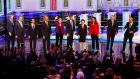 Bill de Blasio, Tim Ryan, Julian Castro, Sen. Cory Booker; Sen. Elizabeth Warren; Beto O'Rourke, Sen. Amy Klobuchar,  Tulsi Gabbard,  Jay Inslee and John Delaney pose for a photo on stage before the start of a Democratic primary debate hosted by NBC News at the Adrienne Arsht Center for the Performing Arts in Miami. Photograph: Wilfredo Lee/AP