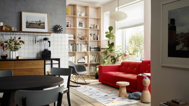 Minima furniture classics, from left, Basel chair by Jasper Morrison €385, Guéridon table by Jean Pouve from €1,960, RAR rocking chair by Eames upholstered front from €780 and Polder sofa by Hella Jongerius from €5,990.