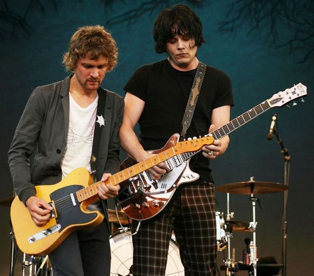 Brendan Benson and Jack White of The Raconteurs on stage in 2008. Photograph: Karl Walter/Getty Images