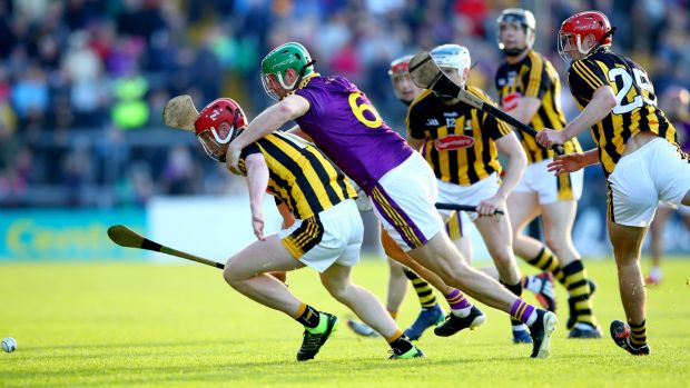 Matthew O'Hanlon of Wexford in action against Kilkenny's Adrian Mullen during the Leinster SHC round-robin game at Innovate Wexford Park. Photograph: James Crombie/Inpho