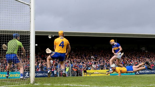 Séamus Callanan scores a goal against Clare. His ability has never been doubted but now the Tipperary captain is leading by example due to his relentless workrate. Photograph: James Crombie/Inpho