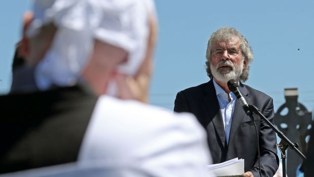 Former Sinn Féin leader Gerry Adams speaking at the funeral of ex-IRA leader Kevin McKenna at St Mary's Chapel, Magherarney, Smithborough. Photograph by Crispin Rodwell/The Irish Times