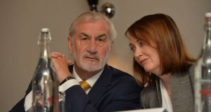 Directors Kieran Mulvey and Catriona Mullane at the Independent News and Media  meeting in Dublin on June 26th. Photograph: Alan Betson