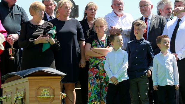 Marcella McKenna and her daughter Gráinne at the funeral Kevin McKenna. Photograph: Crispin Rodwell/The Irish Times