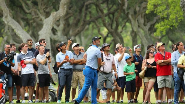 Spain's Jon Rahm hits his second shot on the ninth hole during day one of the Andalucia Masters at Valderrama. Photograph: Warren Little/Getty Images