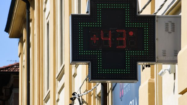 Temperature recorded in Reggio Emilia, near Bologna in northern Italy. Photograph: Miguel Medina/AFP