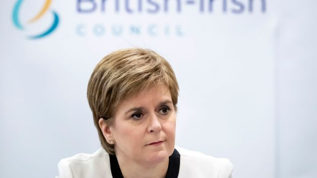 First minister of Scotland Nicola Sturgeon during a press conference at a British Irish Council (BIC) summit meeting in Manchester. Photograph: PA