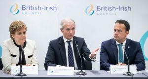 (From left) First minister of Scotland Nicola Sturgeon, minister for the cabinet office David Lidington and Taoiseach Leo Varadkar during a press conference a British Irish Council  summit meeting in Manchester. Photograph: PA