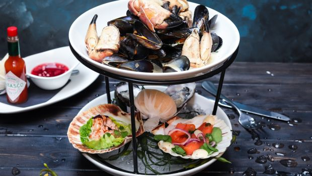 Irish shellfish tower at Sole restaurant in Southwilliam Street, Dublin 2