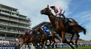 Seamie Heffernan rides Anthony Van Dyck to victory in the Derby Stakes on the second day of the Epsom Derby Festival. Photograph: Glyn Kirk/AFP/Getty