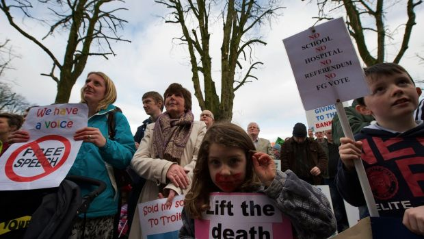 A protest in Castlebar, Co Mayo, in 2012 over the potential closure of small schools. Photograph: Keith Heneghan/Phocus