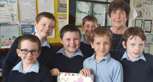 All six pupils at Cloghans Hill National School – ranging in age from eight to 11 – alongside school secretary Ann Shally