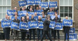 IFA president Joe Healy leads IFA national officers and members in a protest at the EU Commission offices in Dublin on Friday, depicting the Mercosur trade deal as  a 'sell out'. Photograph: Finbarr O'Rourke