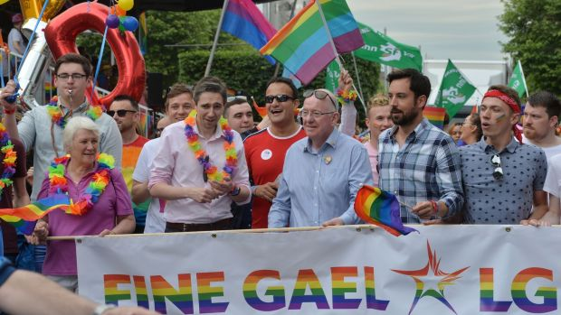 Minister of State Catherine Byrne, Minister of State for Health Simon Harris, Taoiseach Leo Varadkar, Minister for Justice Charlie Flanagan and Minister for Housing Eoghan Murphy are pictured during Dublin Pride on Saturday. Photograph: Alan Betson/The Irish Times.