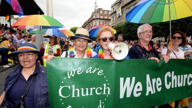 Members of We are Church including journalist Ursula Halligan participating in the 2019 Dublin Pride parade. Photograph: Alan Betson
