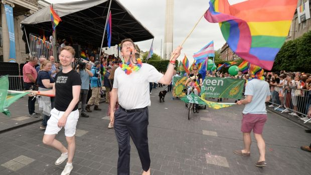 Leader of the Green Party Eamon Ryan goes barefoot in the 2019 Dublin Pride Parade in Dublin city centre. Photograph: Alan Betson