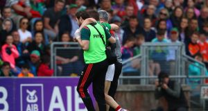 Mayo's Lee Keegan leaves the field injured during their All-Ireland SFC qualifier win over Armagh. Photo: James Crombie/Inpho