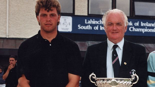 Former Lahinch captain Tim McHale with Darren Clarke at the 1990 South of Ireland Championship.