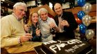 Tom Jordan (left) celebrating the 2,000th episode of Fair City with colleagues Sarah MacDowall, Jim Bartley and Tony Tormey. Photograph: Bryan O'Brien