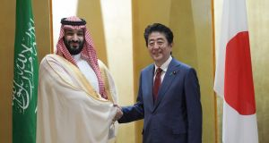 Saudi Arabia's Crown Prince Mohammed bin Salman  and Japanese prime minister Shinzo Abe: Japan, which is reeling from the impact of Fukushima on its energy policy, is the world's third-largest financial supporter of coal. Photograph: Eugene Hoshiko