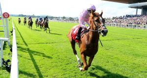 Sovereign and Pádraig Beggy win the Dubai Duty Free Irish Derby at the Curragh. Photograph: PA Wire