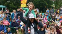 Elena Puyo and her daughter Sofia (2) at Kaleidoscope Festival in Russborough House.  Photograph: Fran Veale