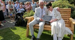Patric and Geraldine Kriegel at the planting of a tree and the unveiling of a bench and plaque in memory of their daughter, Ana, in the grounds of the Leixlip Manor Hotel. Photograph:  Crispin Rodwell