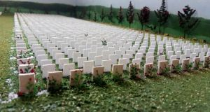 The memorial diorama at King House in Boyle (above),  is a representation of a Commonwealth War Graves cemetery containing more than 4,000 headstones, representing about a tenth of the number of lives lost in the first World War from the island of Ireland.