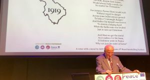 Padraig Griffin at the launch online of his research, and that of other local historians,  marking the centenary of the signing of the Treaty of Versailles.