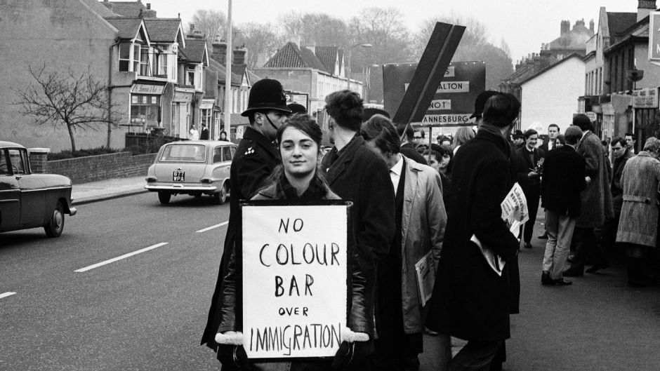 Young socialists demonstrate at a meeting held by Conservative MP for Smethwick Peter Griffiths in Birmingham in 1965. Photograph: Jobson/Mirrorpix/Getty Images