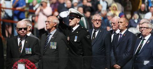 MILITARY MEN: A commemoration event on the 103rd anniversary of the opening day of the Battle of the Somme, at Belfast's City Hall. Photograph: Niall Carson/PA Wire
