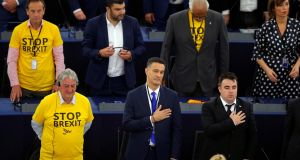 "MEPs wear shirts with the slogan ""Stop BREXIT"" as they attend the first plenary session of the newly elected European Parliament in Strasbourg on Tuesday. Photograph: Vincent Kessler/Reuters"