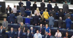 Brexit Party MEPs turn their backs during the European anthem ahead of the inaugural session at the European Parliament. Photograph: Frederick Florin/AFP/Getty Images