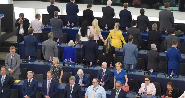 Brexit Party MEPs turn their backs on European anthem