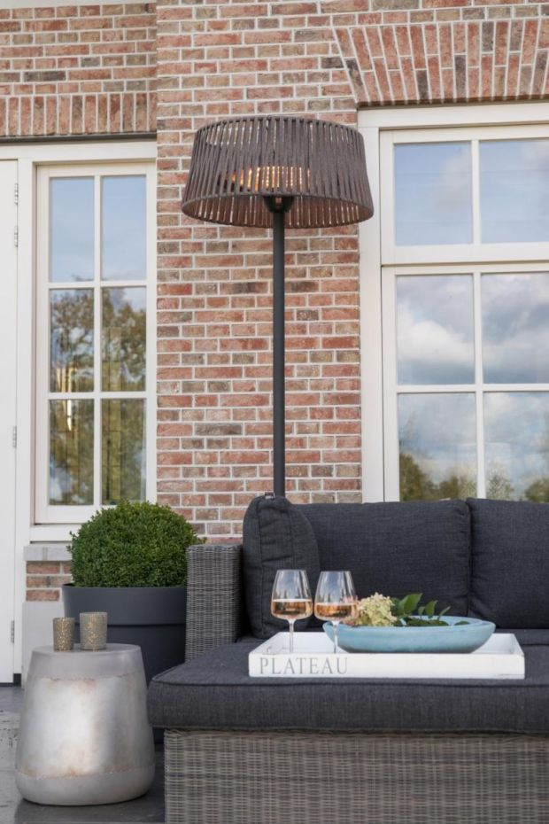 The Outdoor Scene stocks a range of electric heating that almost doubles as an ambient form of outdoor lighting and is designed to look like smart floor lamps and ceiling pendants.