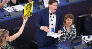 Matt Carthy  of Sinn Féin speaks during the the inaugural European Parliament session at the European Parliament on Tuesday. Photograph: by Frederick Florin/AFP