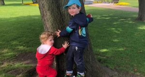 Louis (1) and Arthur (4) enjoy a 'nature walk'.