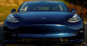 Tesla's Model 3 electric vehicle which is pushing sales in Europe. Photograph: Mike Blake/Reuters