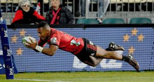 Crusaders' Sevu Reece scores a try against Hurricanes in the Super Rugby semi-final last Saturday. He is one of the four uncapped players  included in the All Blacks squad. Photograph:  Marty Melville/AFP/Getty