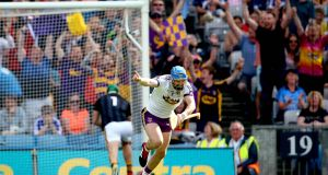 Mark Fanning celebrates scoring Wexford's crucial goal against Kilkenny during the Leinster senior hurling final at Croke Park. Photograph: Ryan Byrne/Inpho