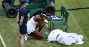 Gauff after the match had ended. Photo: Carl Recine/Reuters