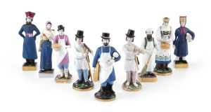 Eleven Russian Gardner figures sold for a collective €47,500 (€1,000- €1,500 a piece) at Adams.
