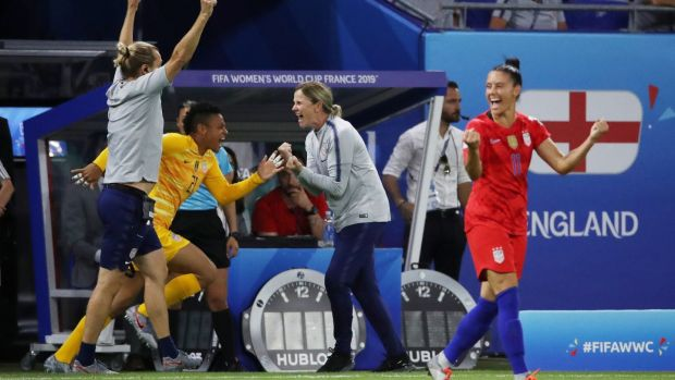 US manager Jill Ellis celebrates at the final whistle. Photo: Denis Balibouse/Reuters