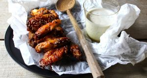 Hoisin chicken wings with buttermilk ranch dressing