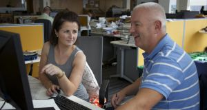 Irish Times Results Helpdesk guidance counsellors Deirdre Garrett and Brian Howard work to answer questions. Photograph: Sara Freund