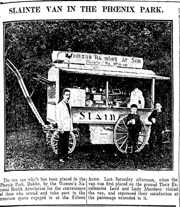 "From The Irish Times – Saturday, October 9th, 1909. The caption reads: ""The new van which has been placed m the Phoenix Park, Dublin, by the Women's National Health Association for the convenience of those who attend and take part in the numerous sports engaged in at the Fifteen Acres. Last Saturday afternoon, when the van was first placed on the ground Their Excellencies Lord and Lady Aberdeen - visited the van, and expressed their satisfaction at the patronage extended to it."""